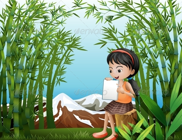 GraphicRiver Girl in Bamboo with Empty Book 8051457