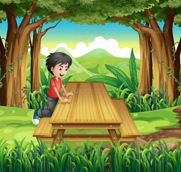 GraphicRiver Boy at Picnic Table 8051517