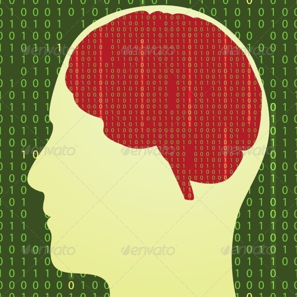 Silhouette of the Brain with Binary Code