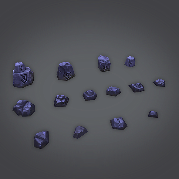 3DOcean Low Poly Rock Set 01 8051756