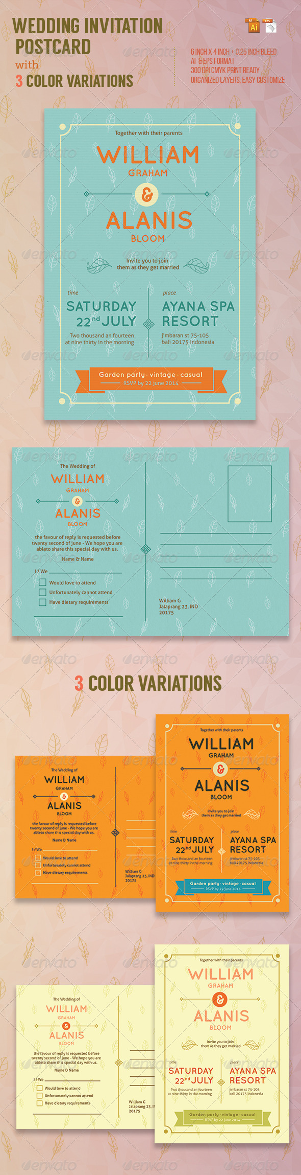 GraphicRiver Wedding Invitation Postcard 8051950