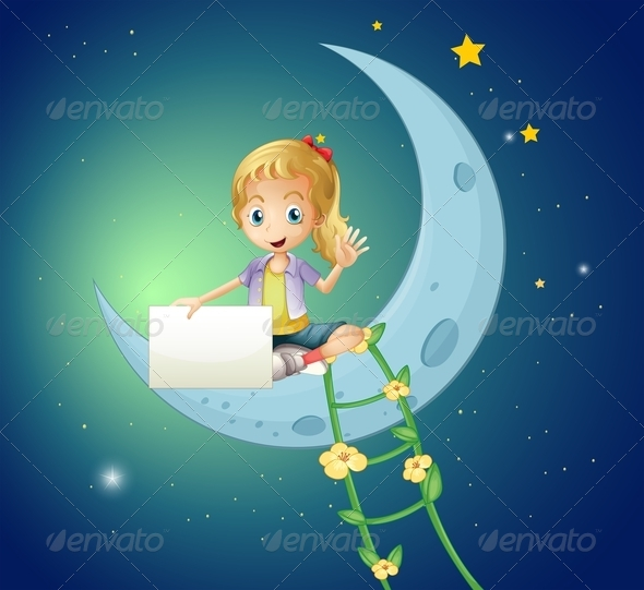 GraphicRiver Girl sitting on Moon 8052089