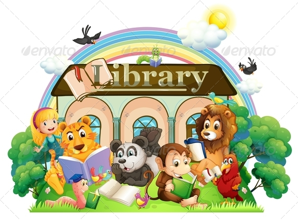 GraphicRiver Animals in front of Library 8052113