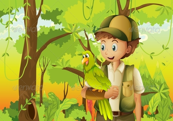 GraphicRiver Scout with Parrot 8052701