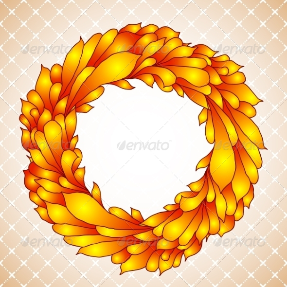 GraphicRiver Floral Wreath of Yellow Autumn Leaves 8052738