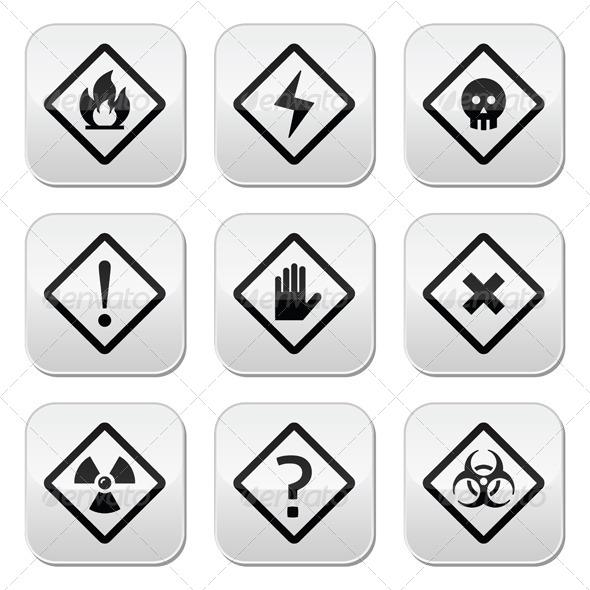 GraphicRiver Danger Risk Warning Buttons Set 7873772