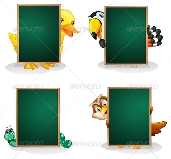 GraphicRiver Animals behind Board 8052770