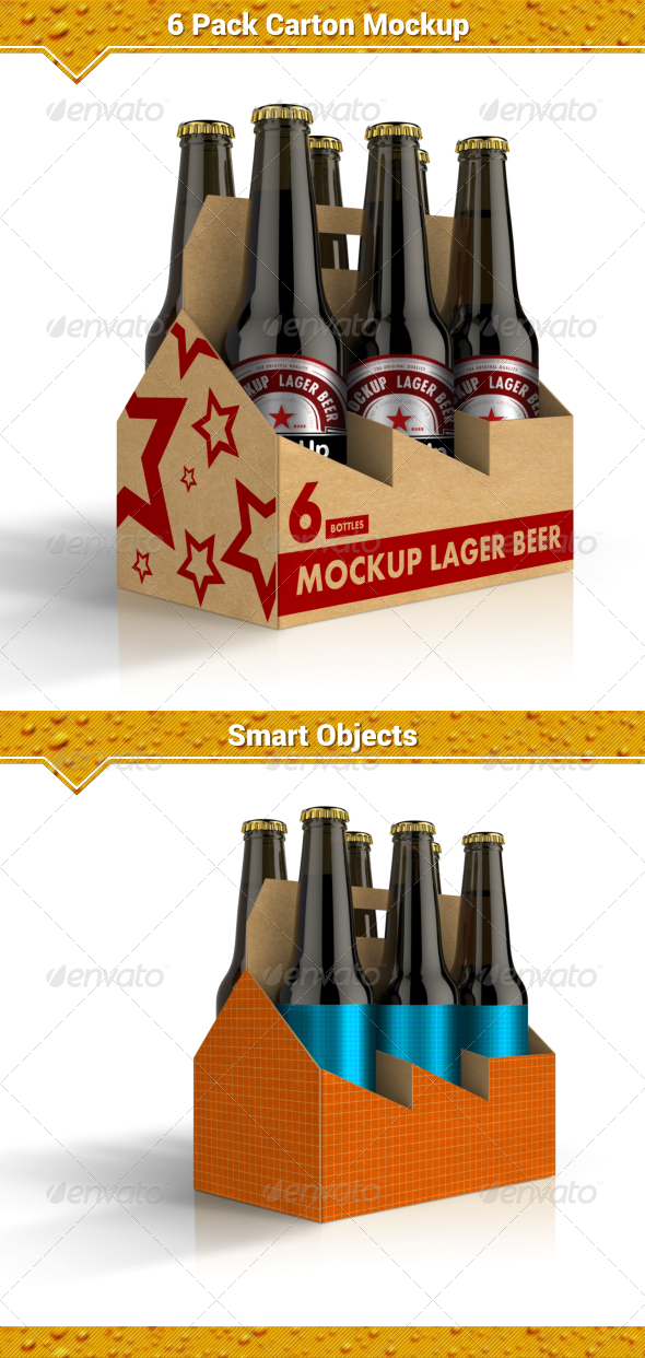 GraphicRiver 6 Pack Carton Mock-Up 8048206