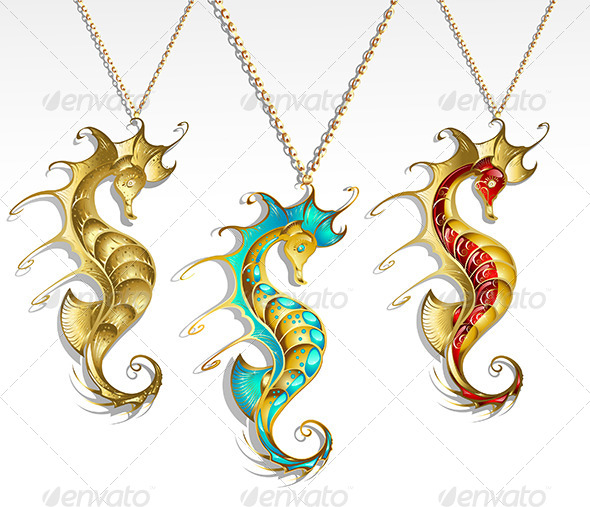 GraphicRiver Three Gold Seahorses 8052904