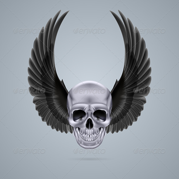 GraphicRiver Metal Chrome Skull with Two Wings Up 8053573