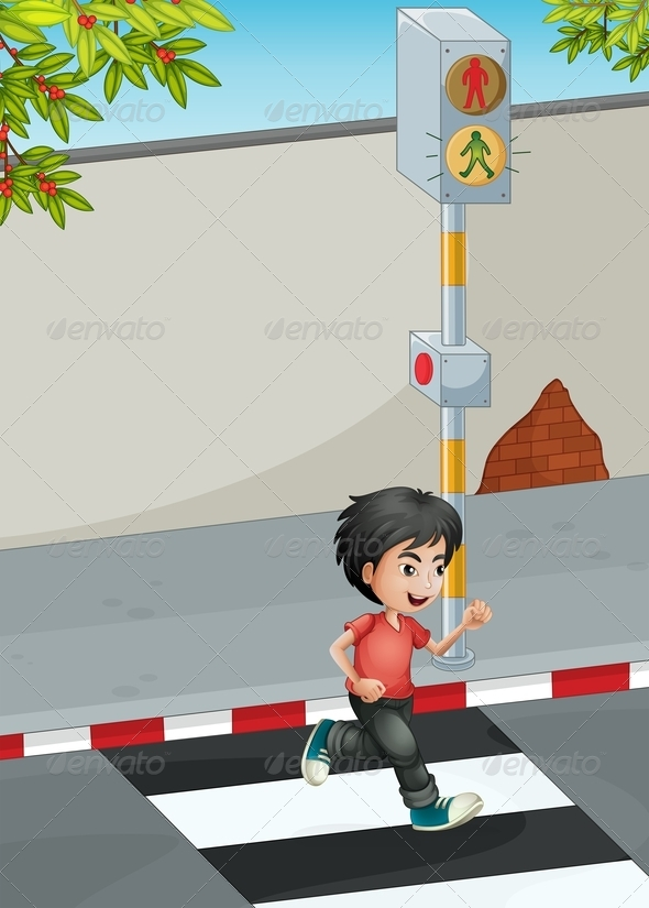 GraphicRiver Boy running across Street 8053776