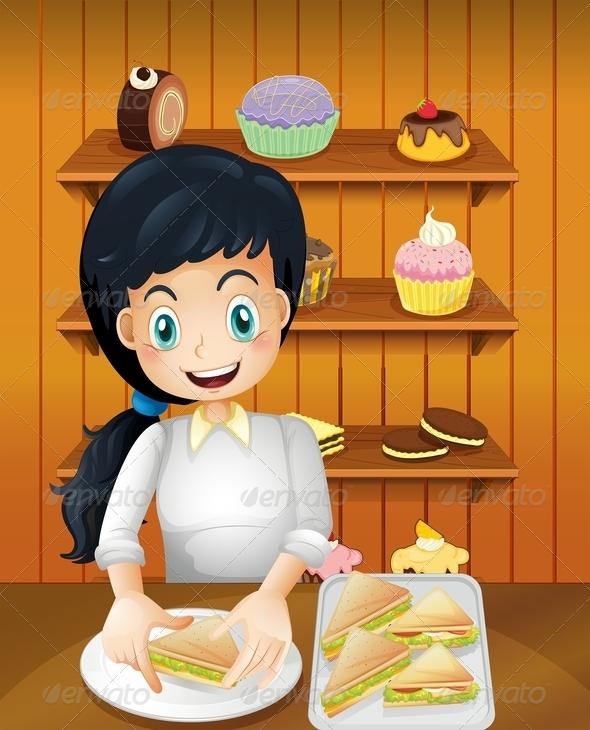 Mother preparing Sandwiches