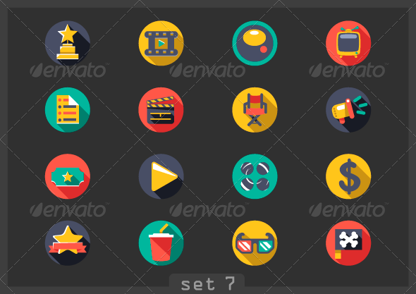 GraphicRiver Movie Flat Icons 8054133