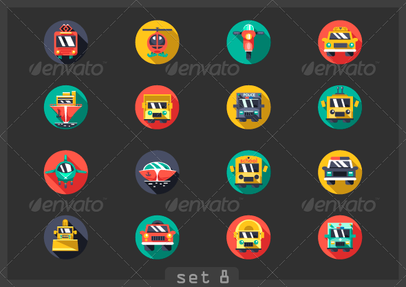 GraphicRiver Transport Flat Icons 8054178