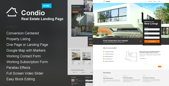 Condio - Real Estate One Page & Landing Page HTML - Corporate Landing Pages