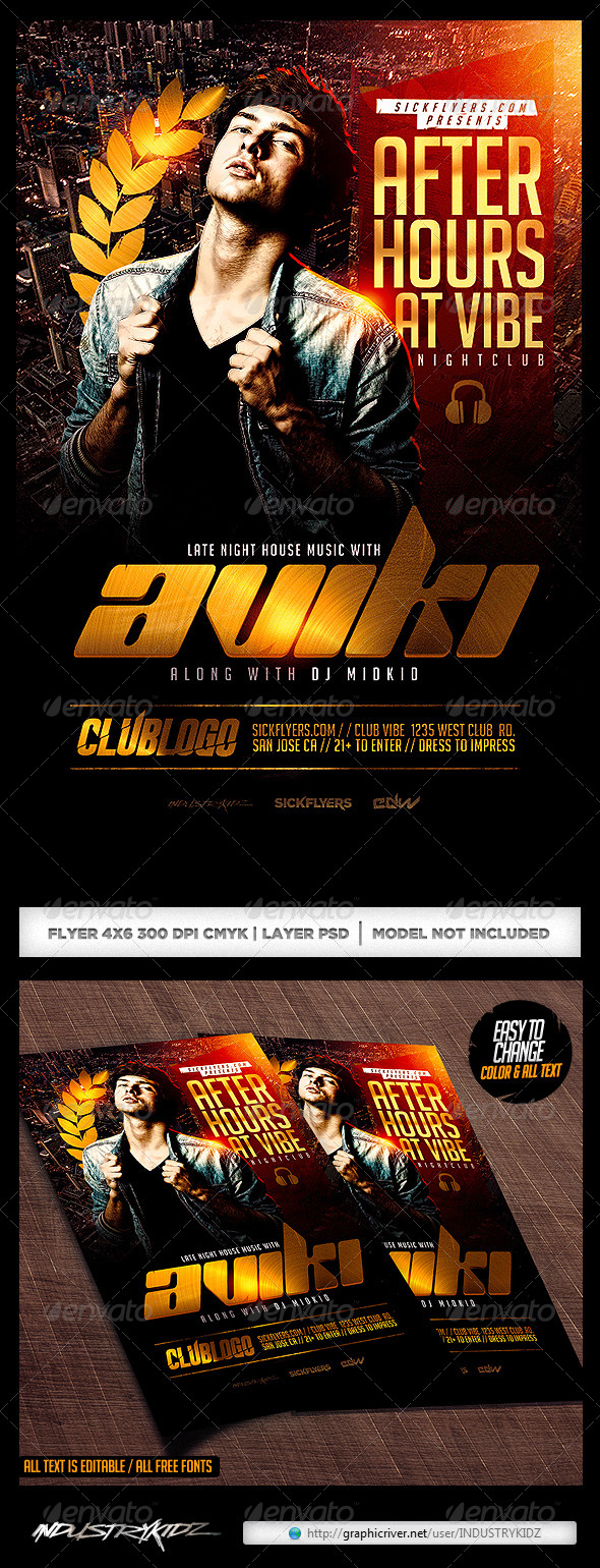 Late Night Flyer Template PSD - Clubs & Parties Events