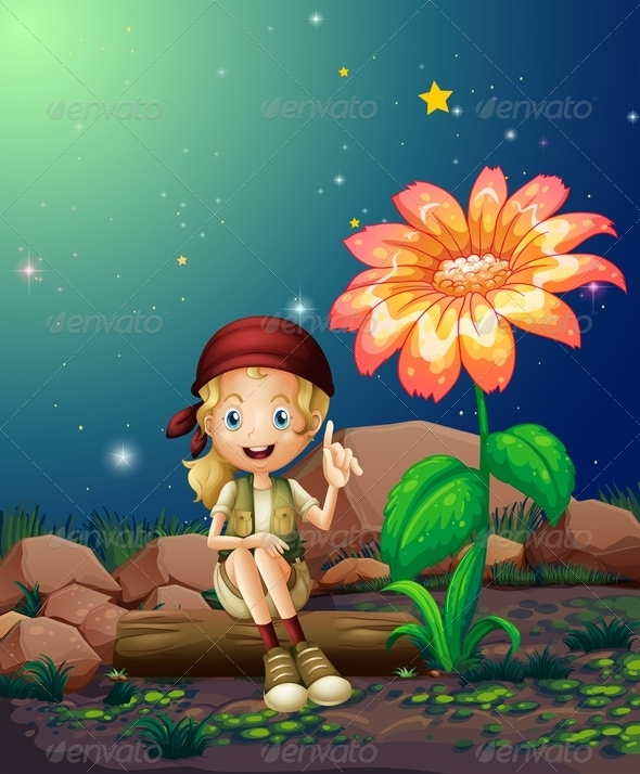 GraphicRiver Girl sitting by Flower 8054310