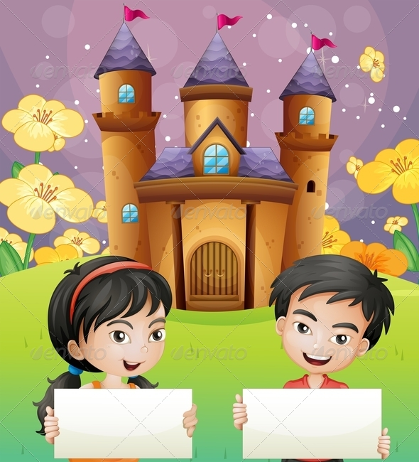 GraphicRiver Kids with Empty Signs and Castle 8054386