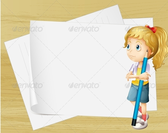 GraphicRiver Girl with Pencil and Empty Paper 8054407