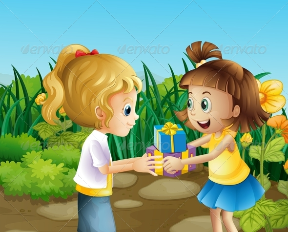 GraphicRiver Friends Exchanging Gifts 8054416