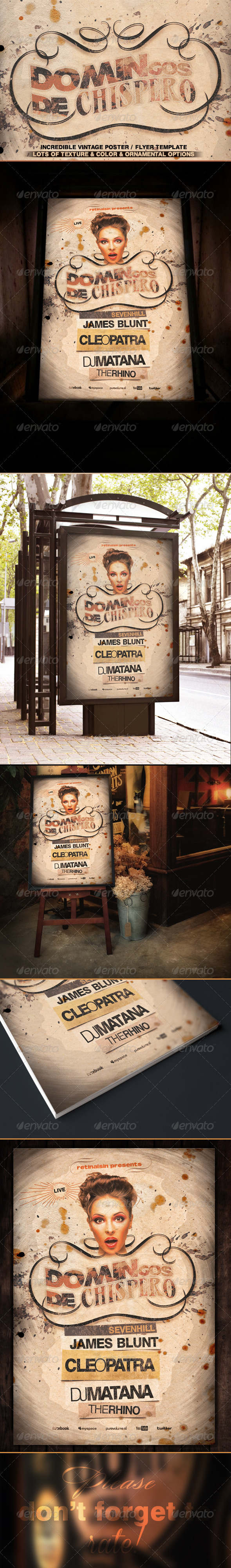 GraphicRiver Vintage Poster Flyer Template 8052931