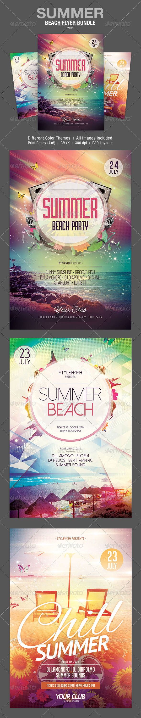 GraphicRiver Summer Beach Flyer Bundle Vol.01 8054689