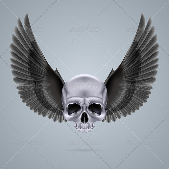 GraphicRiver Metal Chrome Skull with Two Wings 8054845