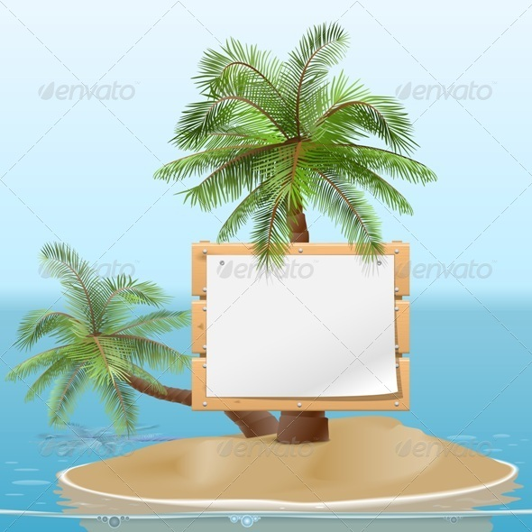 GraphicRiver Vector Island with Signboard 8054937