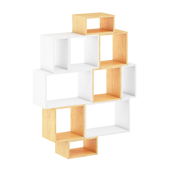3DOcean White and Wood Shelf 8055690