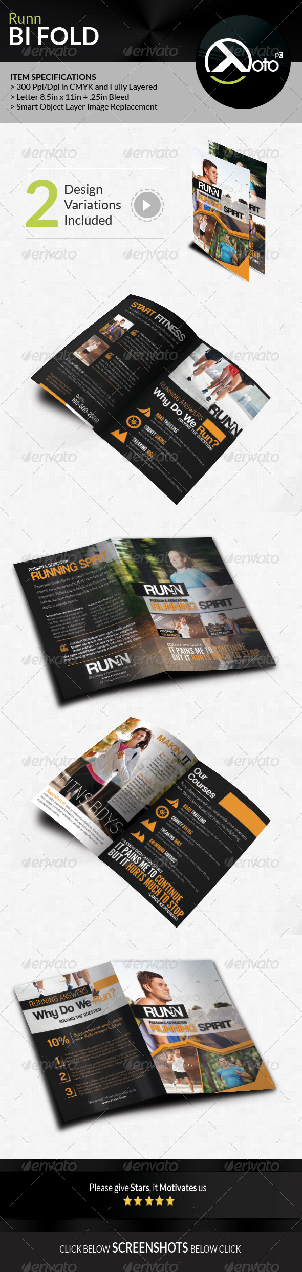 GraphicRiver Runn Marathon Running Club Fitness Bifold Brochure 8055781