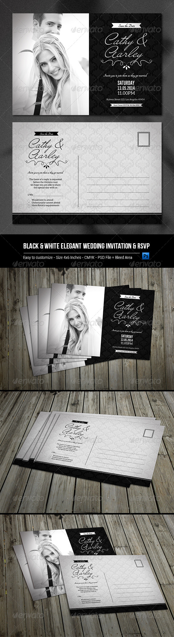 GraphicRiver Black & White Elegant Wedding Invitation & RSVP 8055853