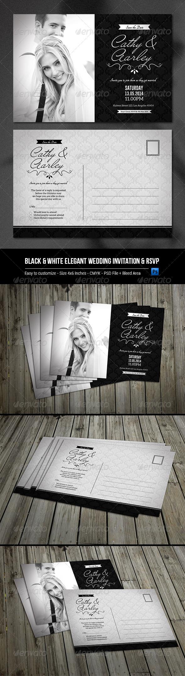 GraphicRiver Black & White Elegant Wedding Invitation & RSVP 8055853