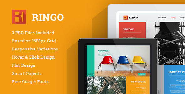 ThemeForest Ringo One Page PSD template 8055924