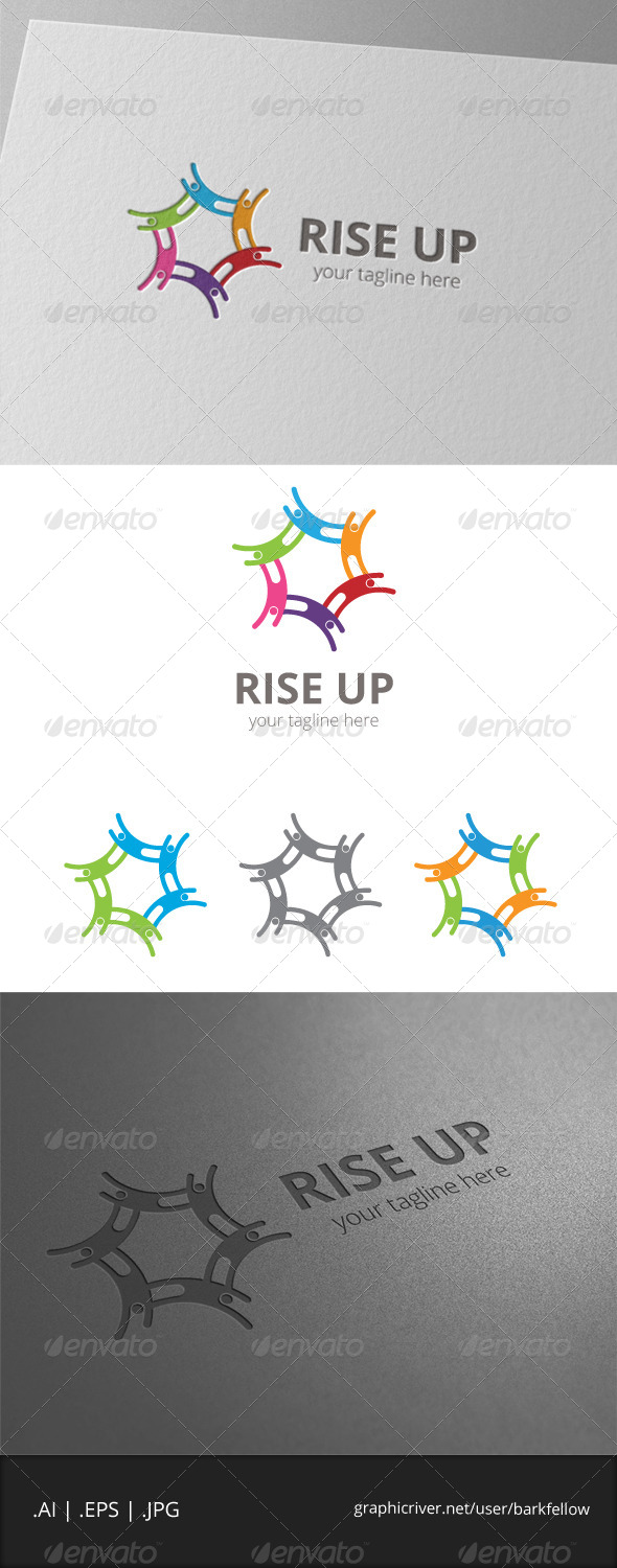 GraphicRiver Rise Up People Logo 8056040