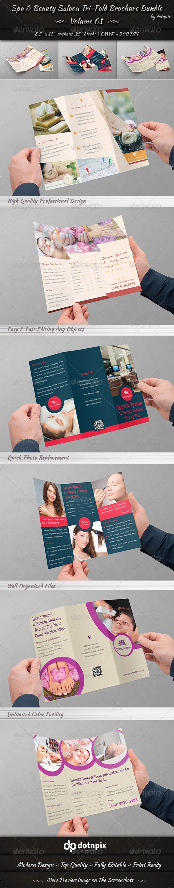 GraphicRiver Spa & Beauty Saloon Tri-fold Brochure Bundle v1 8056135
