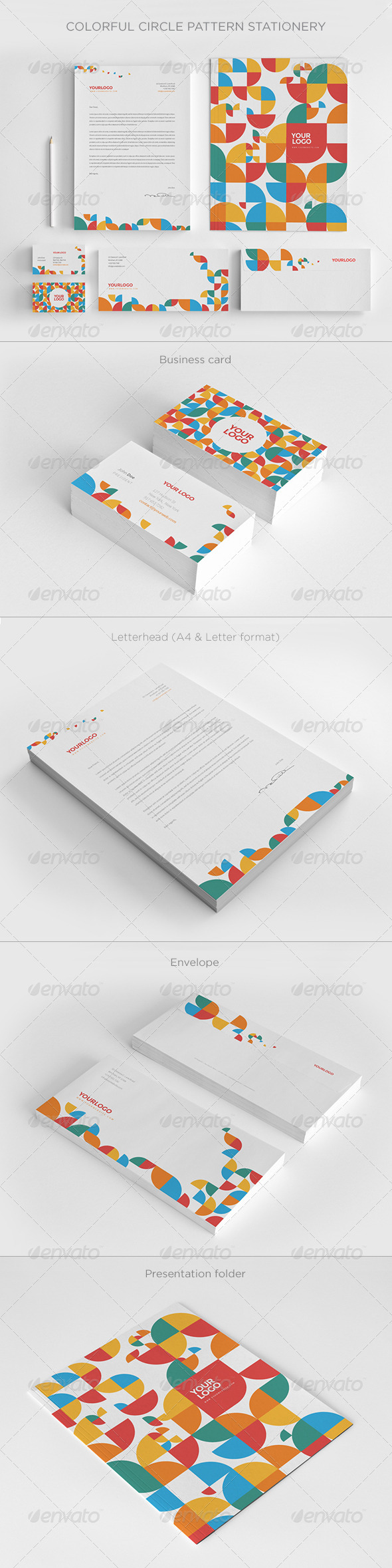 GraphicRiver Colorful Circle Pattern Stationery 8056316