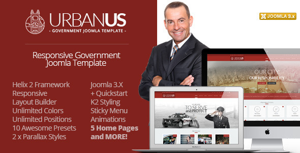 ThemeForest Urbanus Responsive Government Joomla Template 7981432