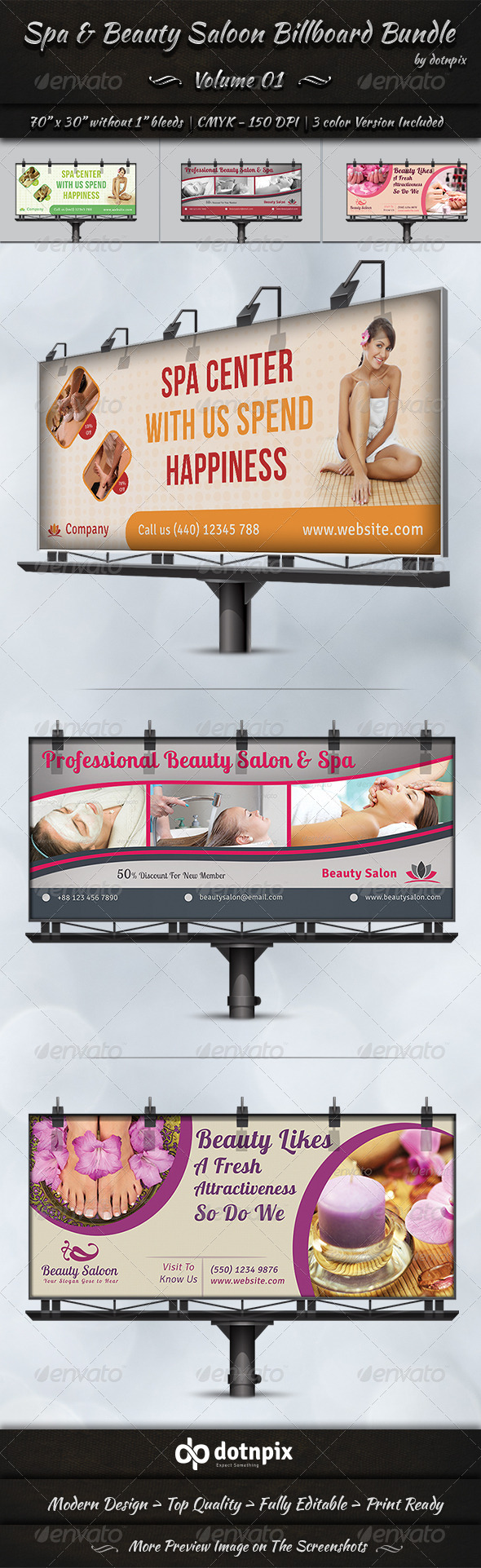 Spa Beauty Saloon Billboard Bundle Volume 1 Signage