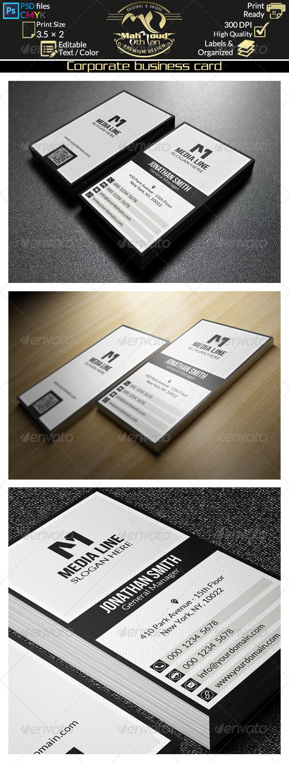 GraphicRiver Black And White Business Card 30 8056474