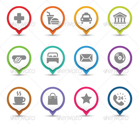 GraphicRiver Map Pins With Icons 8000069