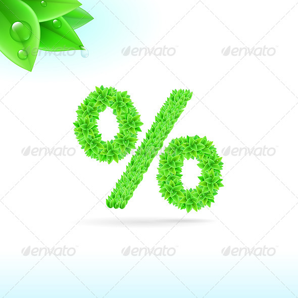GraphicRiver Sans Serif Font with Green Leaf Decoration 8056608