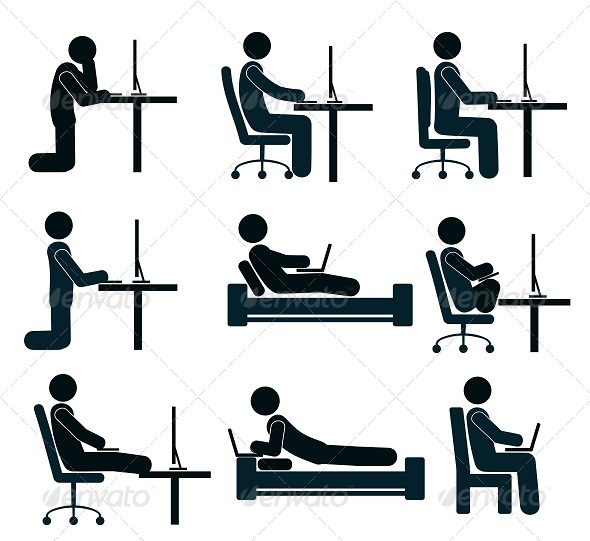 GraphicRiver Bad and Good Working Position of the Human at the Desk 8056849