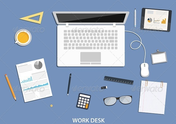 GraphicRiver Workspace Flat Desktop Design with Business Icons 8056876