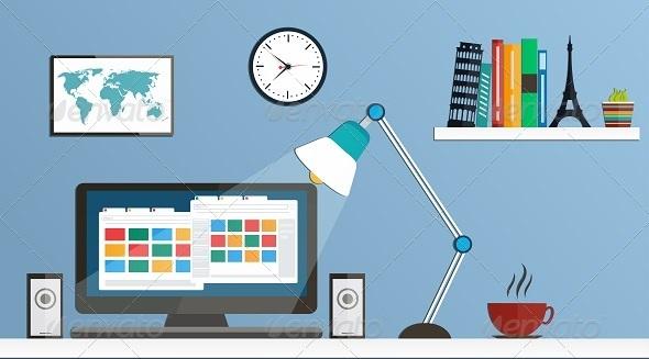 GraphicRiver Flat Design Desktop Workspace 8056962