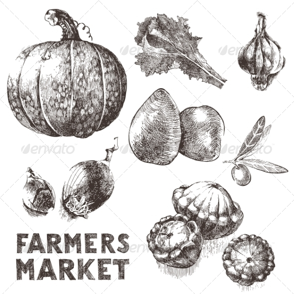 GraphicRiver Hand Drawn Vegetables 8056963