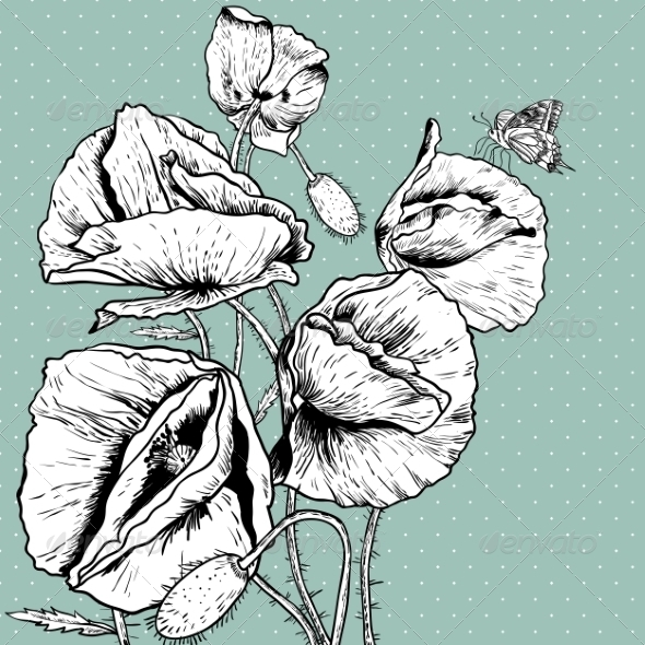 GraphicRiver Monochrome Background with Bunch Poppy 8057525