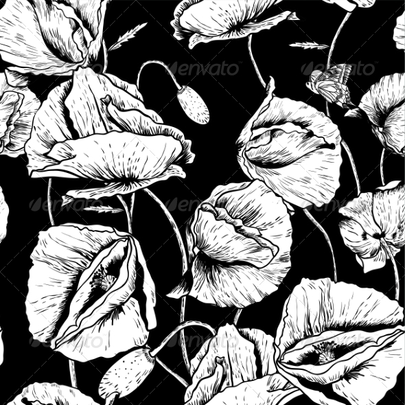 GraphicRiver Monochrome Seamless Floral Background with Poppy 8057561