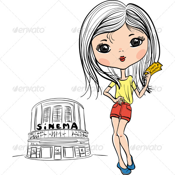 GraphicRiver Vector Fashion Cute Girl with Cinema Ticket 8057962