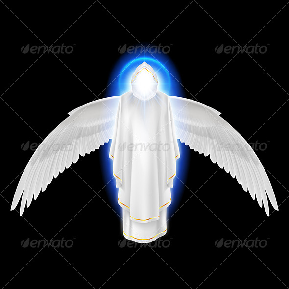 GraphicRiver White Angel on Black 8057987