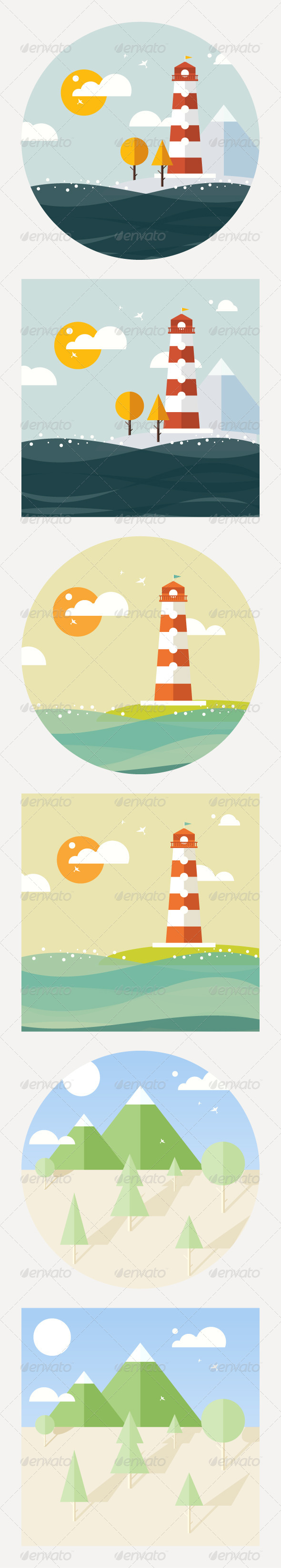 GraphicRiver Hipster Vector Lighthouse Flat Style 8058143